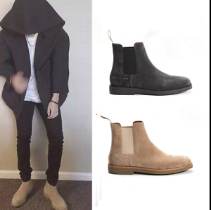 Fashion Mens Punk Suede High Top Pointy Toe Chelsea Boots Ankle Boots shoes