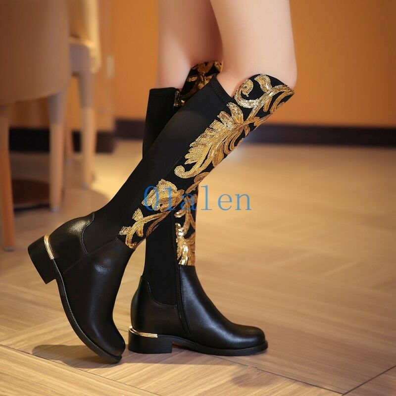 Sequins Bling donna Knee High avvio Floral Stretchy Hidden Heel Riding scarpe HOT