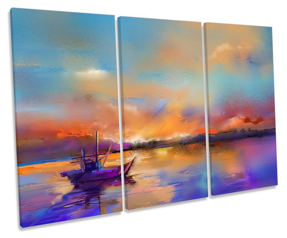 Fishing Boat Sunset Seascape TREBLE CANVAS Wand KunstWORK Drucken Kunst