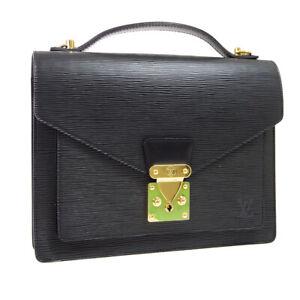 LOUIS VUITTON MONCEAU 28 2WAY HAND BAG SATCHEL SR1023 BLACK EPI M52122 R11933
