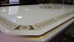 Luxury versace design italian coffee table cream or black for Mobili versace