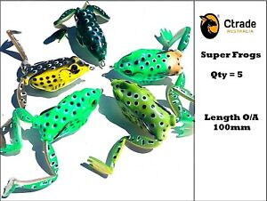 5-x-Large-100mm-Popper-Soft-Frog-Fishing-Lure-Surface-Barra-Lure-Cod-Trout-Bass
