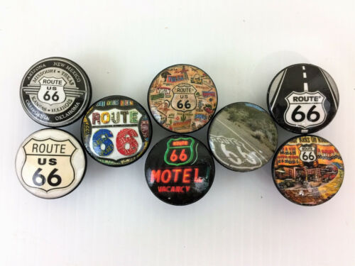 Set of 8 Route 66 Print Cabinet Knobs Drawer Knobs