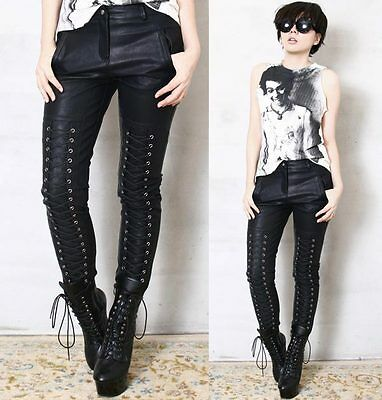 RTBU Leather-Like Skinny Laceup Corset emo Rocker Trouser Stretch Pants Unisex