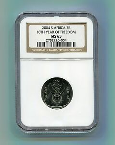 NGC-Slabbed-MS-65-South-Africa-10th-Year-of-Freedom-R2-Year-2004-Democracy-Coin