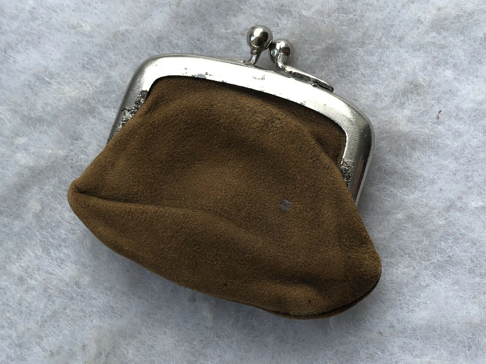 Antique Purse 1920s Coin Ring Brown Suede Tiny Secure Central Area Retro Old