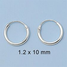 Super Small Mini Hoop Earrings Sterling Silver 925 1.2 mm x 10 mm USA Seller