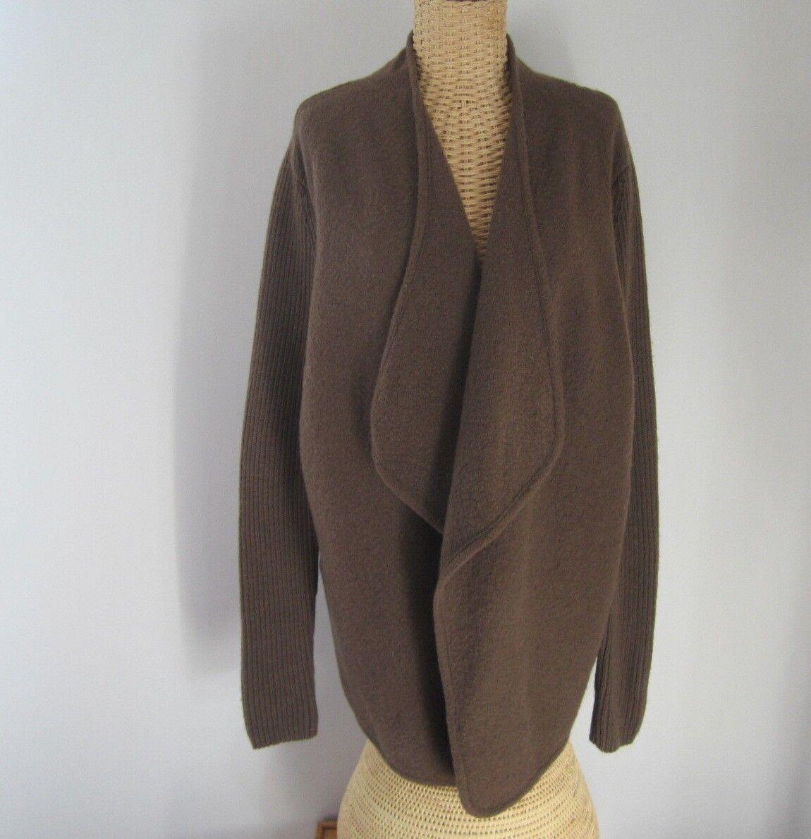 Vince Womens Medium Taupe Brown Boiled Wool Long Sleeve Sweatercoat Cardigan M