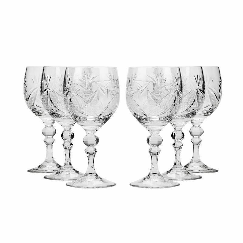 Neman Glassworks, 8.8-Oz Russian Crystal Wine Goblet Glasses, 6-pc Vintage Set