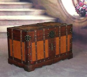 Image Is Loading Antique Storage Trunk Wood Old Pirate Chest Vintage