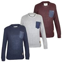 Mens Crosshatch Cable-Knit Jumper Crew Neck Long Sleeves Pullover Winter Top