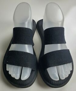 Sanuk Yoga Foam 'Gora' Women's Black Two Strap Slide Sandals Size 6
