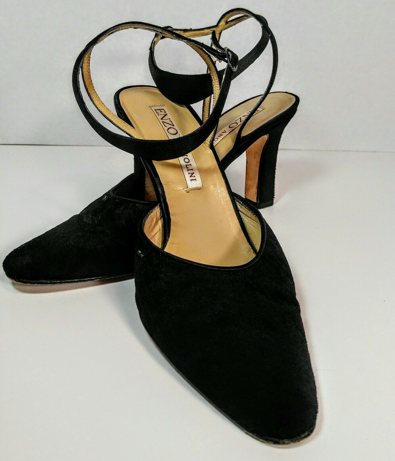 Enzo Angiolini Black Pumps Velvet Ankle Strap Pumps Black Size 8.5 f27172