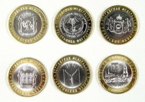 RUSSIA COINS 10 RUBLES 2014 UNC SET OF 6 PIECES