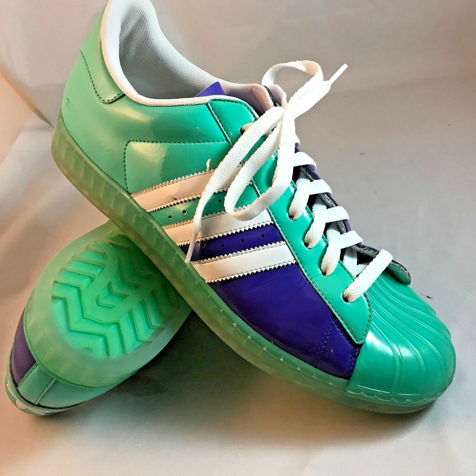 Adidas Limited Edition Superstars soles Patent Leather Aquamarine Royal Clear soles Superstars 11 8f300b