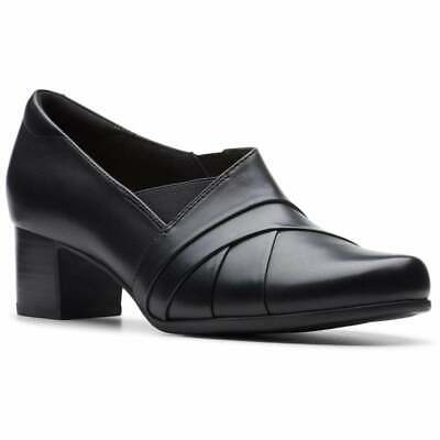 Ladies Clarks Rosalyn Adele Black Leather Smart Heel Trouser Shoes