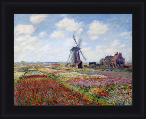 """Claude Monet Fields of Tulip With The Rijnsburg Windmill Framed 27/""""x22/"""" V14-21"""