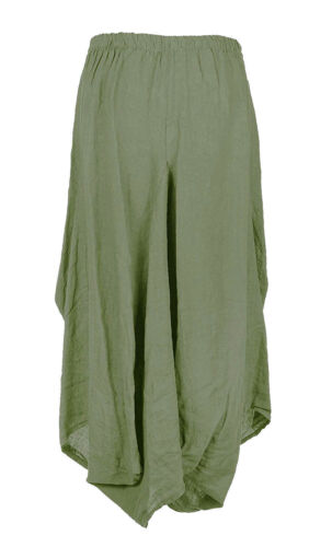 Womens Italian Lagenlook 2 Slit Pocket Parachute Tulip Linen Ladies Maxi Skirt