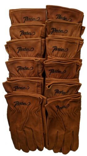 12 Pairs Rancher by Plainsman Goatskin Cabretta BROWN Leather Gloves NEW SM-XL
