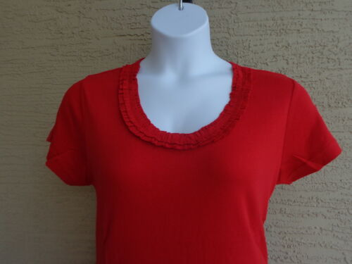 Being Casual Ribbed Cotton Knit Ruffled Scoop Neck Tee Top Red  XL-1X
