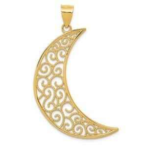 14K-Filigree-Moon-Pendant-New-Charm-Yellow-Gold