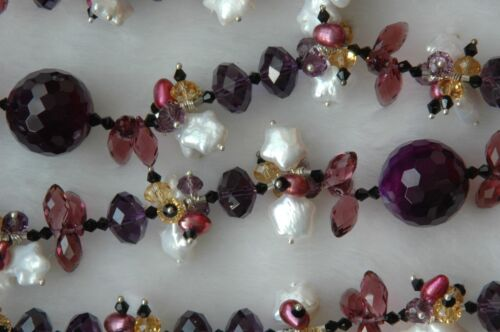 Star Shaped Pearl Mixed Purple Crystal Bead Necklace