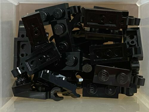 No 63868 LEGO Parts QTY 30 Black Plate 1 x 2 w Clip on End