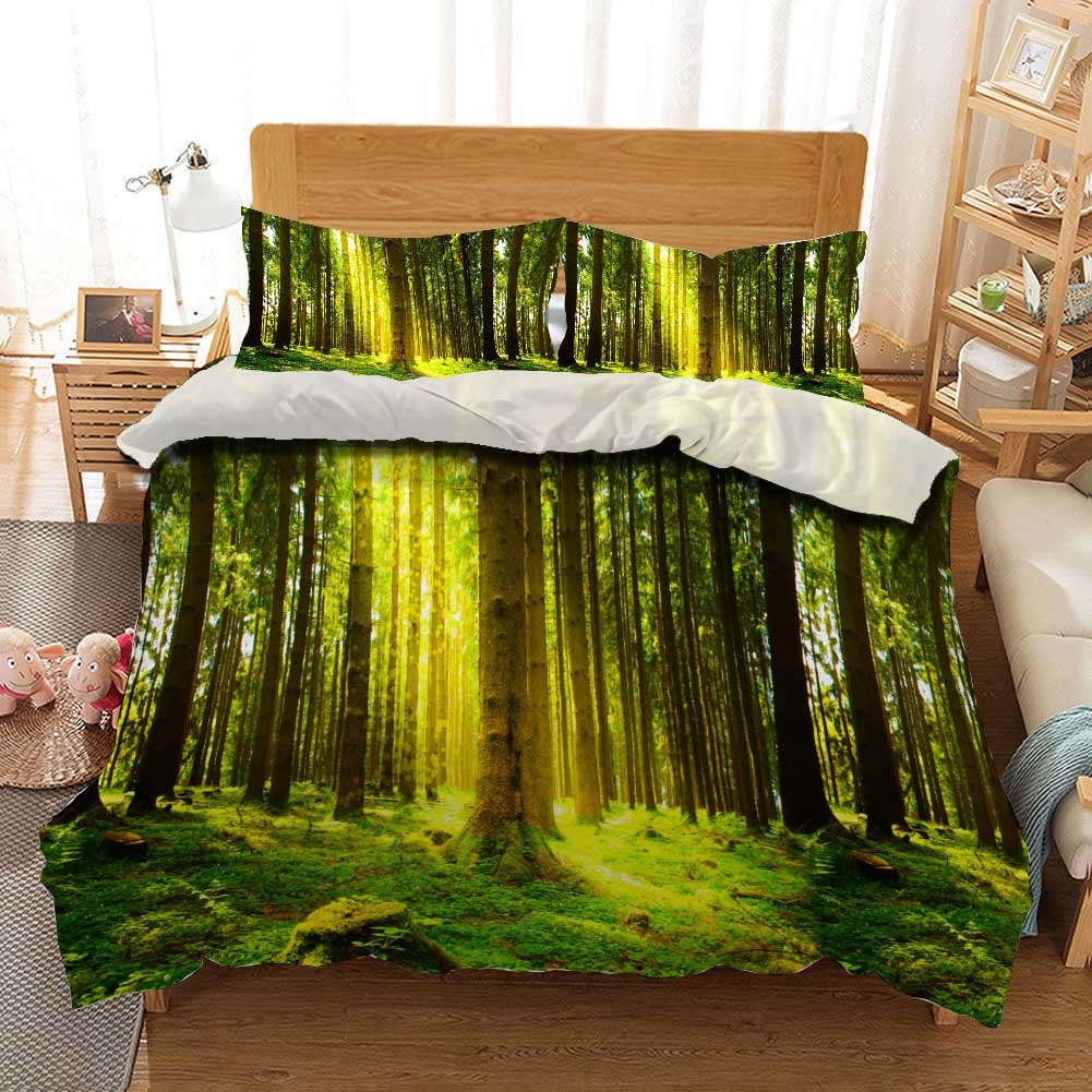 Lawn Sunny verde 3D Printing Duvet Quilt Doona Covers Pillow Case Bedding Sets