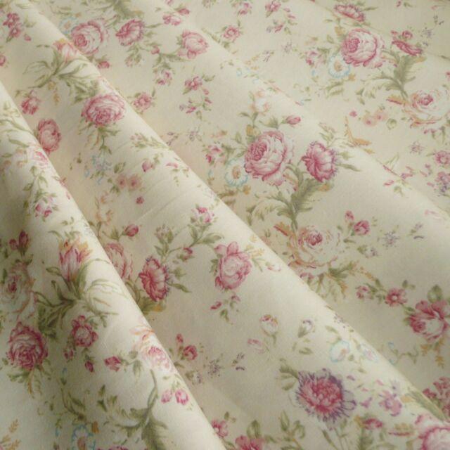 Floral Rose cotton Poplin print Fabric Vintage style dusky pink & cream pastel