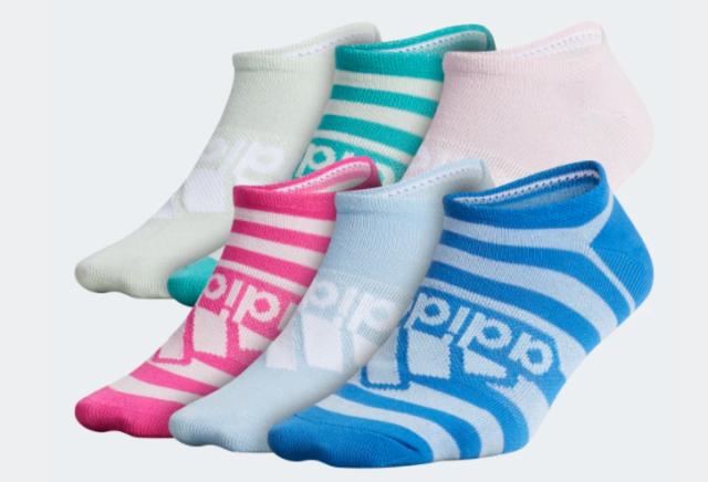 Adidas Socks Big Girls Medium New AeroReady Superlite 6 Pairs No Show Multicolor