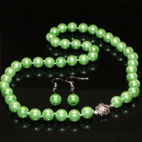 "Long 16/"" 18/"" 22/"" 24/"" 36/"" 8 mm Vert Shell Pearl PERLES rondes Collier 01"