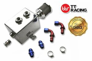 HotRod99 Aluminum Breather Catch Tank with Breather Filter Oil Catch Can With Single 1//2 NPT Fittings Silver