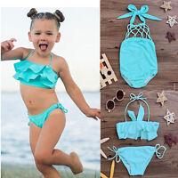 2-7Y Kids Baby Girls Tankini Bikini Set Swimwear Swimsuit Bathing Suit Beachwear