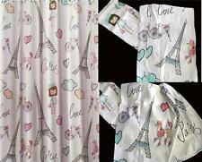 SPLASH PARIS LOVE Eiffel Tower Poodles Vibrant Fabric Shower Curtain 70 X 72 NIP