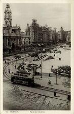 spain, VALENCIA, Plaza del Caudillo, Tram (1950s) RPPC