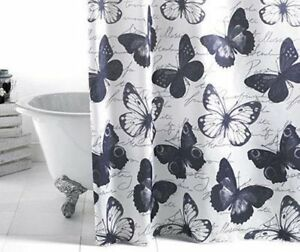 Bathroom Shower Curtain Butterflies Black White And Grey