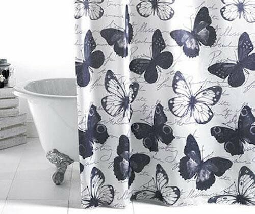 Bathroom Shower Curtain Butterflies Black, White and Grey