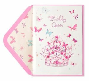 Image Is Loading PAPYRUS Tiara With Butterflies Birthday Card