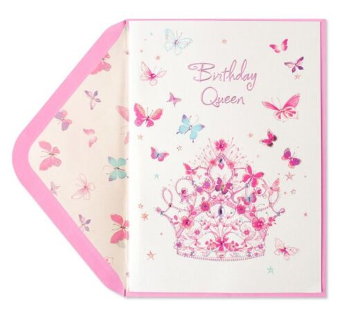 Papyrus Tiera Birthday Queen Butterflies Glitter card