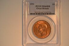1951 Great Britain Penny- Pcgs Ms-64Rb. Lovely.
