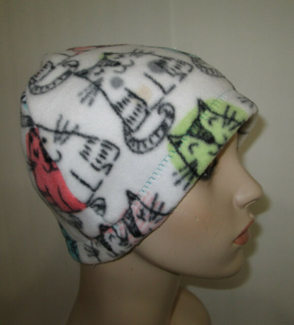 a0ad14a24 Cancer Chemo Hat CATS Print Fleece Alopecia Turban Tichel Comfy Hat