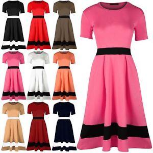 Womens-Ladies-Waist-Hem-Contrast-Block-Panel-Cap-Sleeve-Swing-Midi-Skater-Dress