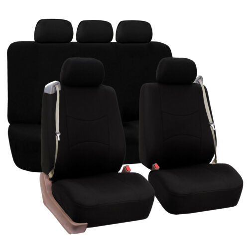 Solid Black Auto Car Seat Covers Built-In Seat Belt Bucket Covers 2 Row Set
