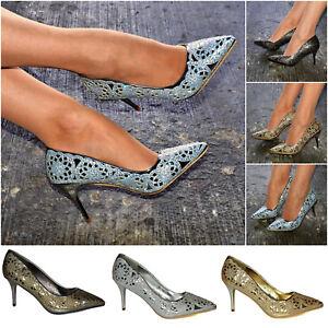 35fd076bd79 Women Festive High Heel Court Shoes Metallic Glitter Christmas Party ...
