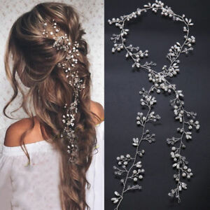 New-35cm-Pearl-Wedding-Hair-Vine-Crystal-Bridal-Accessories-Diamante-Headbands
