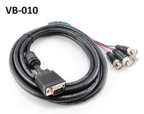 10ft SVGA HD15 to 5-BNC M//M Triple-Shielded Monitor Cable w// Ferrite Core VB-010
