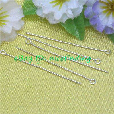 500pcs Silver Plated Eye Pins Finding 28mm Jewelry