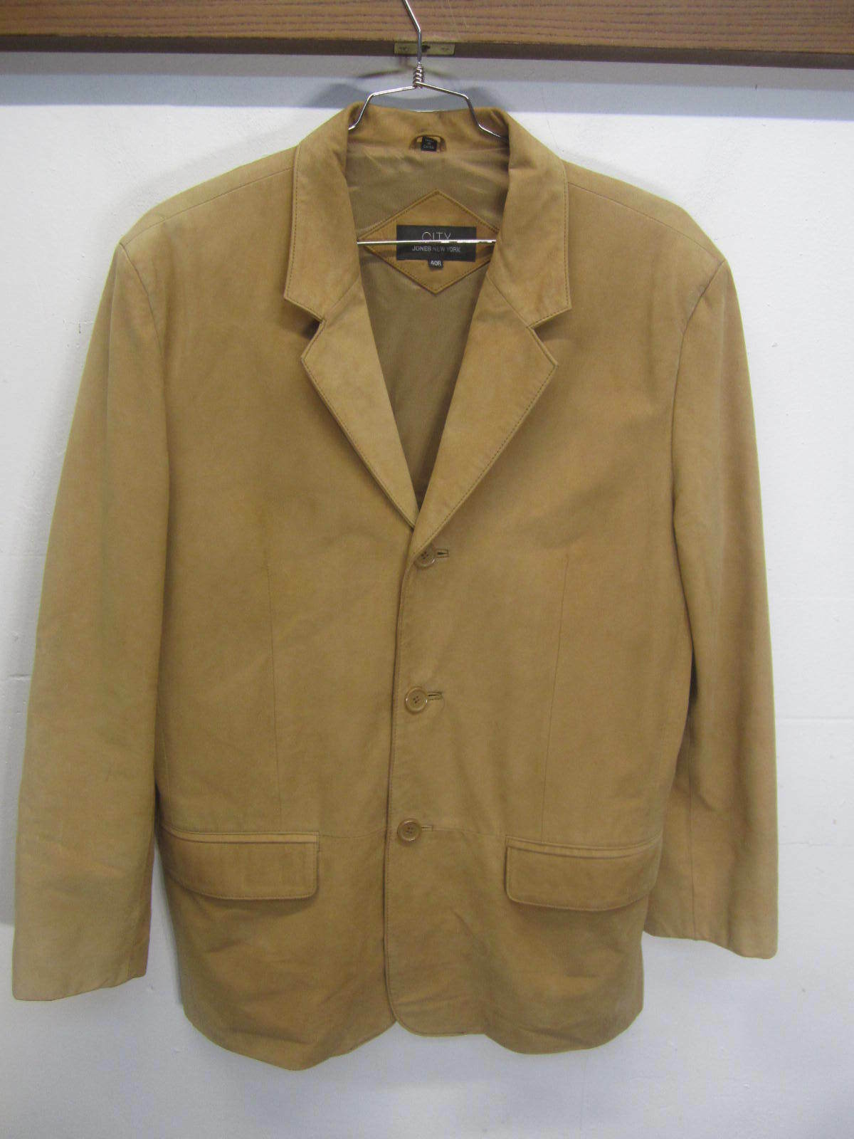 Vtg City Jones New York Blazer Sport Coat tan suede leather 3 button sz 40R