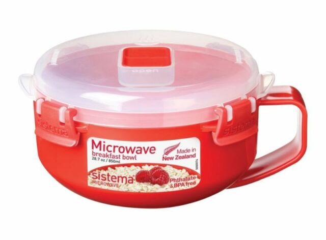 Sistema Microwave Breakfast Porridge Bowl 850Ml Red Bpa Free Dishwasher Safe