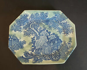 Chinese Blue Amp White  Platter W Celadon Glaze Flower Cart
